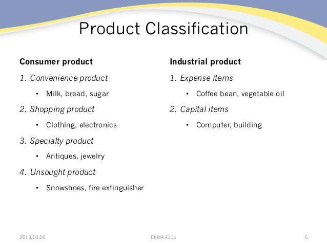 Product Classification Consumer product 1. Convenience product • Milk, bread, sugar 2. Shopping product • Clothing, el...