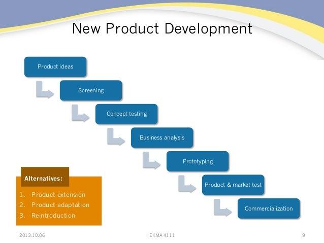 New Product Development 2013.10.06 EKMA 4111 9 Product ideas Screening Concept testing Business analysis Prototyping Produ...