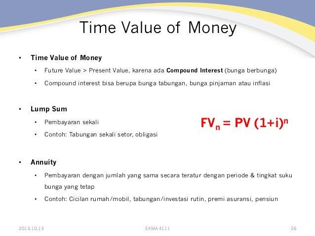 Time Value of Money •  Time Value of Money • •  •  Future Value > Present Value, karena ada Compound Interest (bunga b...