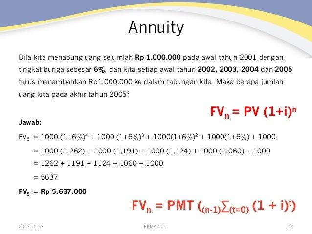 Annuity Bila kita menabung uang sejumlah Rp 1.000.000 pada awal tahun 2001 dengan tingkat bunga sebesar 6%, dan kita setia...