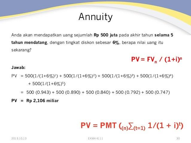 Annuity Anda akan mendapatkan uang sejumlah Rp 500 juta pada akhir tahun selama 5 tahun mendatang, dengan tingkat diskon s...