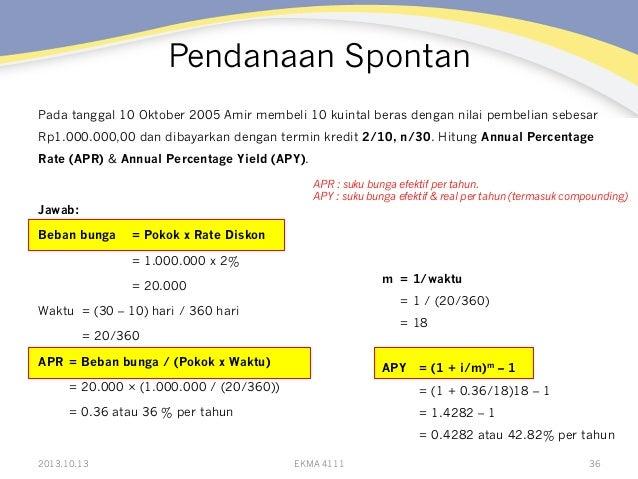 Pendanaan Spontan Pada tanggal 10 Oktober 2005 Amir membeli 10 kuintal beras dengan nilai pembelian sebesar Rp1.000.000,00...