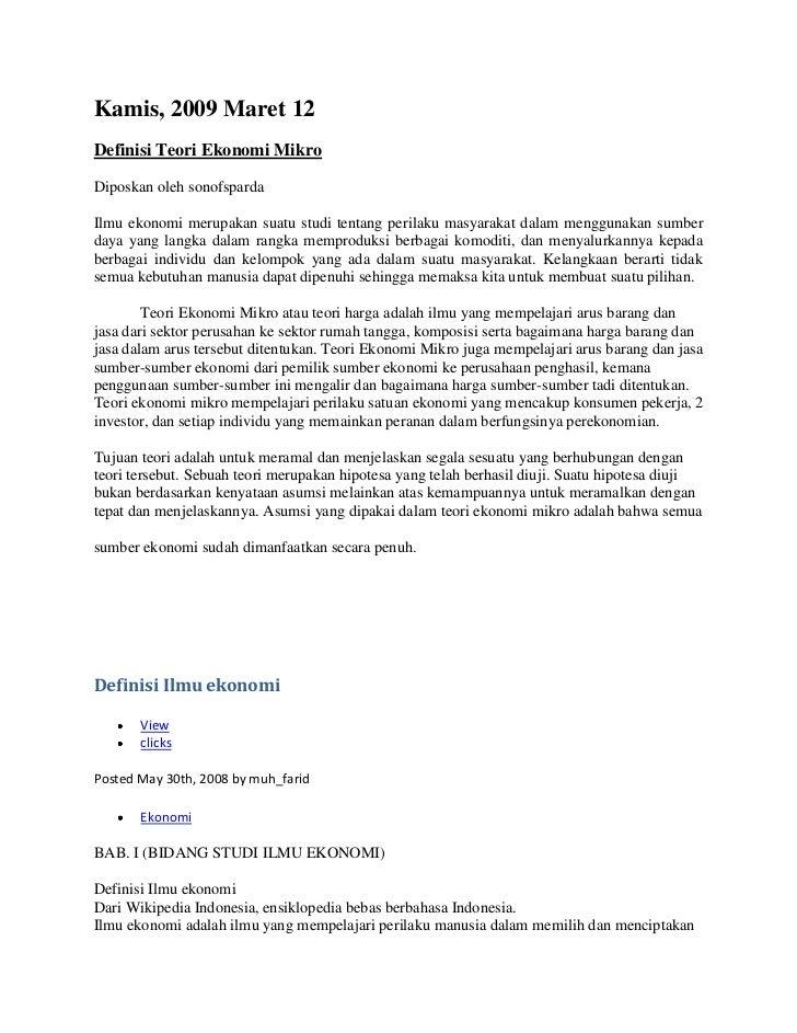 "Kamis, 2009 Maret 12<br /> HYPERLINK "" http://s0n0fsparda.blogspot.com/2009/03/definisi-teori-ekonomi-mikro-ilmu.html""  De..."
