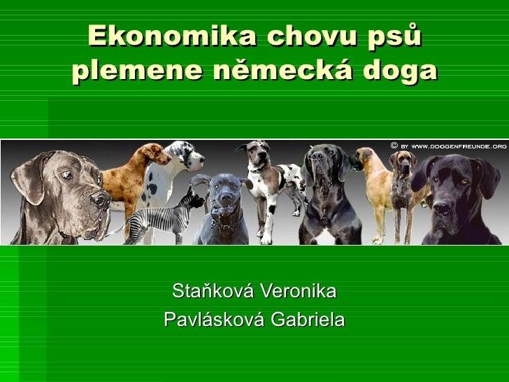 Ekonomika chovu psů plemene německá doga Staňková Veronika Pavlásková Gabriela