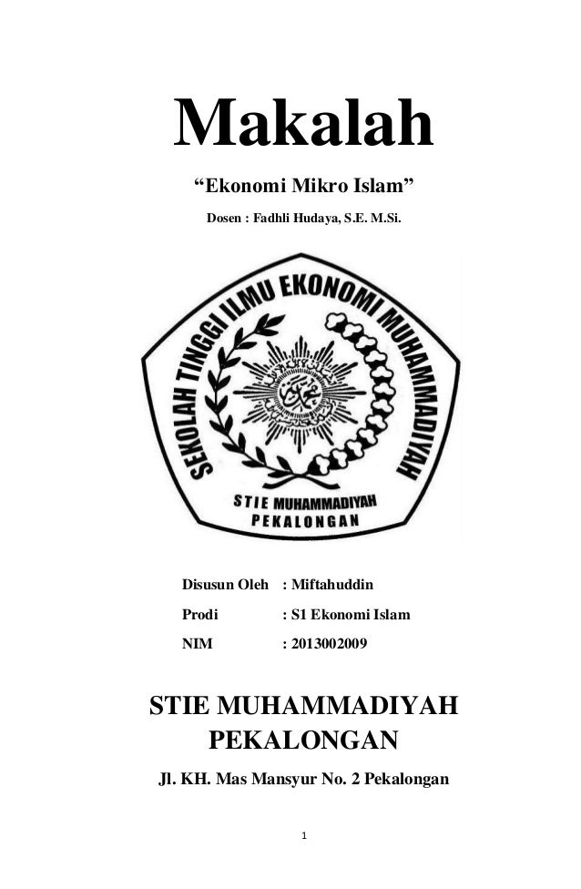 Ekonomi Mikro Islam Miftah Ll Everafter