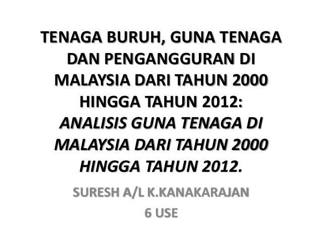 TENAGA BURUH, GUNA TENAGA DAN PENGANGGURAN DI MALAYSIA DARI TAHUN 2000 HINGGA TAHUN 2012: ANALISIS GUNA TENAGA DI MALAYSIA...
