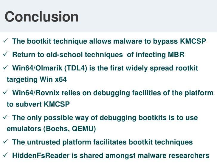 Bypassing KMCSP: Result<br />Bootmgr fails to verify OS loader's integrity<br />MS10-015<br />kills TDL3 <br />