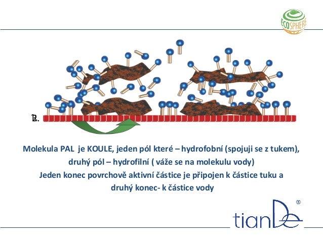 Molekula PAL je KOULE, jeden pól které – hydrofobní (spojuji se z tukem), druhý pól – hydrofilní ( váže se na molekulu vod...