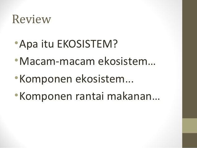 Review• Apa itu EKOSISTEM?• Macam-macam ekosistem…• Komponen ekosistem...• Komponen rantai makanan…