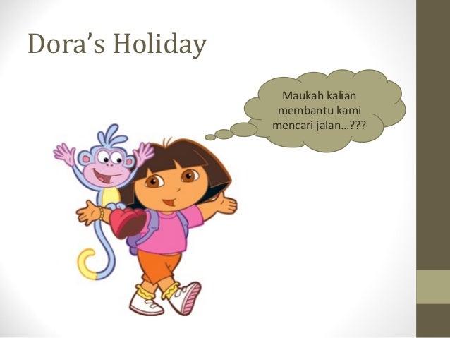 Dora's Holiday                  Maukah kalian                  membantu kami                 mencari jalan…???