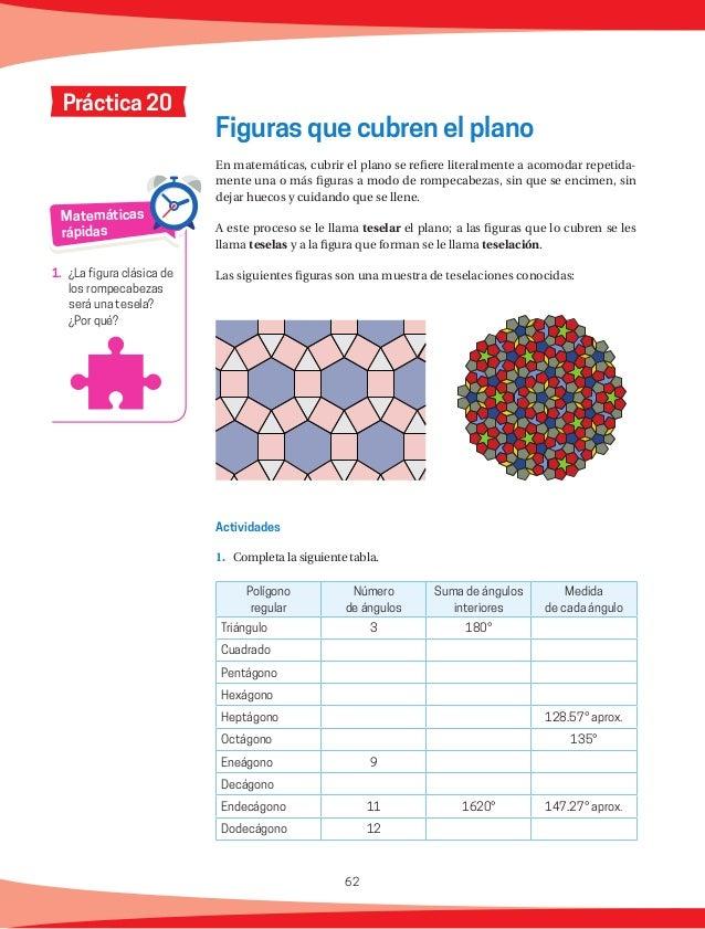 63 ¿A qué crees que se debe que sólo algunos polígonos regulares pueden cubrir el plano sin dejar huecos ni encimarse? Pre...