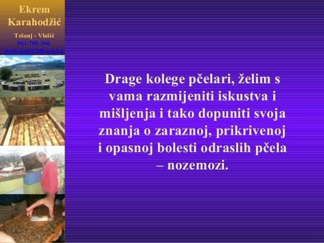 Ekrem Karahodžić Tešanj - Vlašić Drage kolege pčelari, želim s vama razmijeniti iskustva i mišljenja i tako dopuniti svoja...