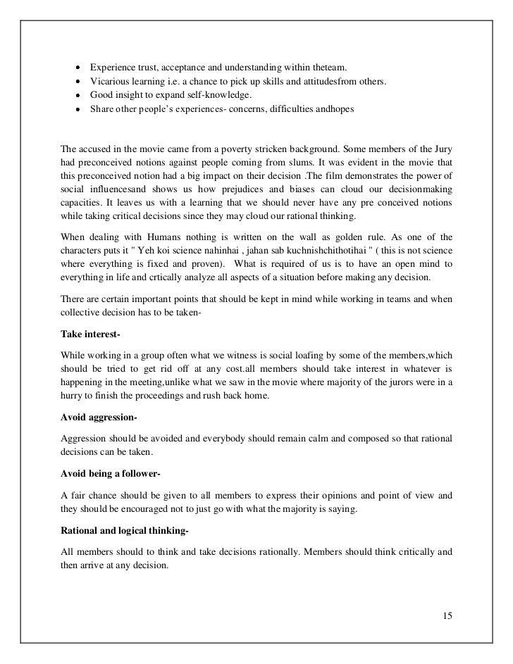 Analysis of ek ruka hua faisla essay