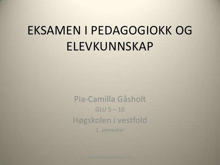 EKSAMEN I PEDAGOGIOKK OG ELEVKUNNSKAP<br />Pia-Camilla Gåsholt<br />GLU 5 – 10<br />Høgskolen i vestfold<br />1. semester<...