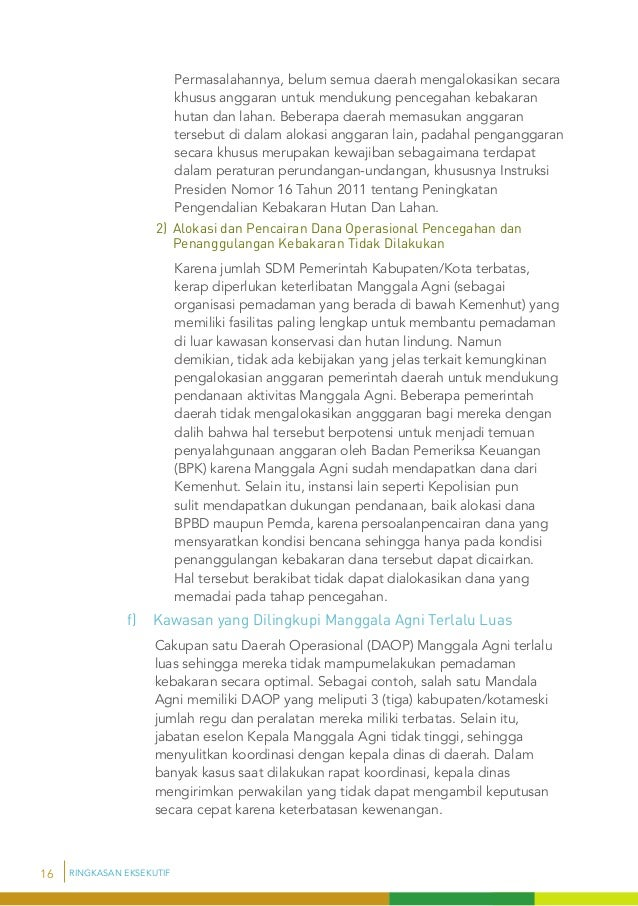 Ringkasan Eksekutif Audit Kepatuhan Dalam Rangka Pencegahan Kebakar