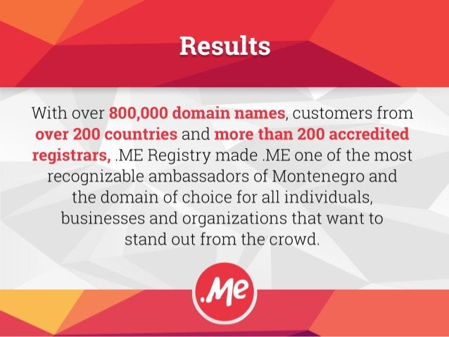 With over 800,000 domain names,  customers from over 2.00 countries and more than 2.00 accredited registrars,  .ME Registr...
