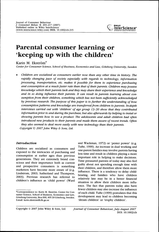 Journal of Consumer Behaviour / Consumer Behav. 6: 203-217 (2007) ..••;•• ®wiLEY Published online in Wiley InterScience ii...