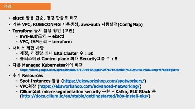 정리 • eksctl 활용 단순, 명령 한줄로 배포 • 기본 VPC, KUBECONFIG 자동생성, aws-auth 자동설정(ConfigMap) • Terraform 동시 활용 방안 (고민) • aws-auth관리 – ...