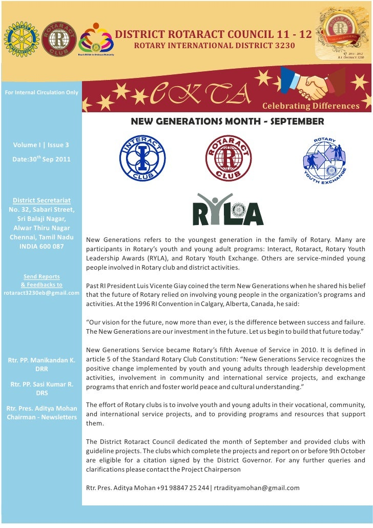 DISTRICT ROTARACT COUNCIL 11 - 12                                                ROTARY INTERNATIONAL DISTRICT 3230For Int...