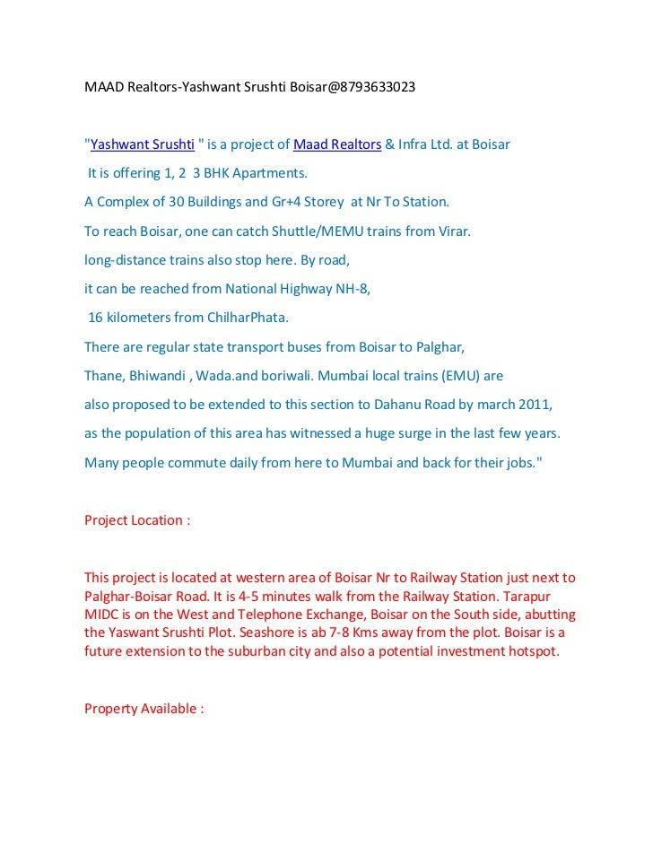 """MAAD Realtors-Yashwant Srushti Boisar@8793633023""""Yashwant Srushti """" is a project of Maad Realtors & Infra Ltd. at BoisarIt..."""