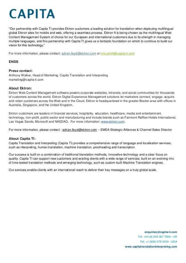 Ektron & Capita Form Partnership - Press Release Feb 2014