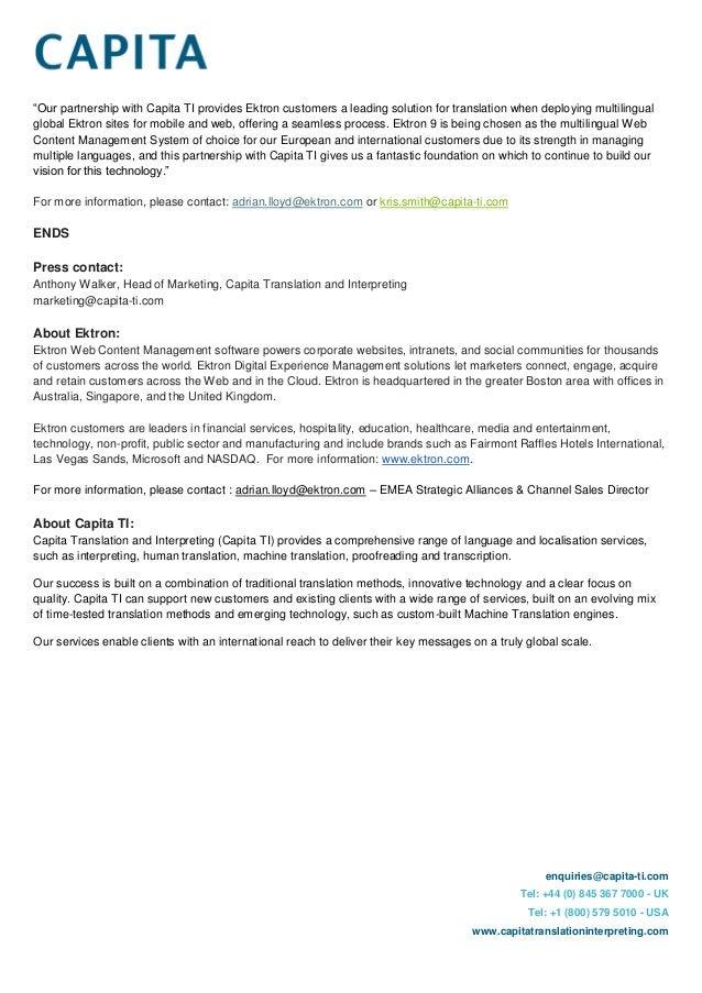 Ektron  Capita Form Partnership  Press Release Feb