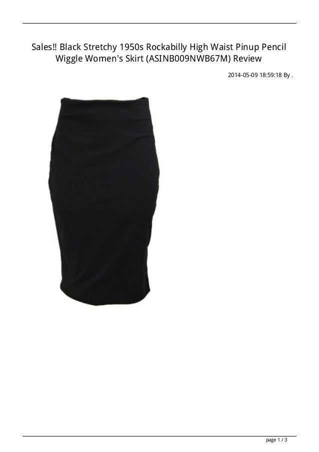 Sales!! Black Stretchy 1950s Rockabilly High Waist Pinup Pencil Wiggle Women's Skirt (ASINB009NWB67M) Review 2014-05-09 18...