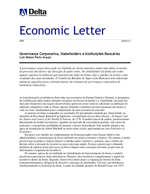 Economic Letter 2002 número 2 Governança Corporativa, Stakeholders e Instituições Bancárias Luiz Nelson Porto Araujo A gov...
