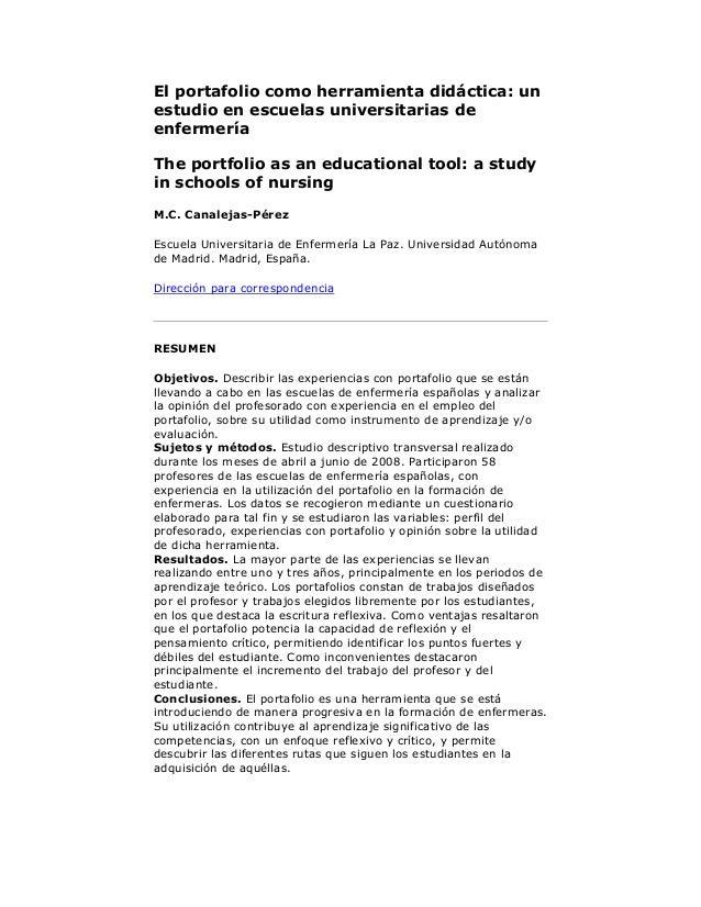 El portafolio como herramienta didáctica: un estudio en escuelas universitarias de enfermería The portfolio as an educatio...