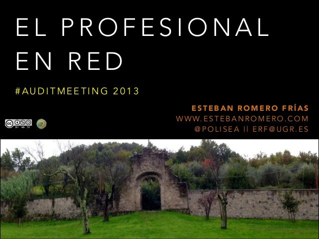 EL PROFESIONAL EN RED #AUDITMEETING 2013 ESTEBAN ROMERO FRÍAS W W W. E S T E B A N R O M E R O . C O M @POLISEA || ERF@UGR...