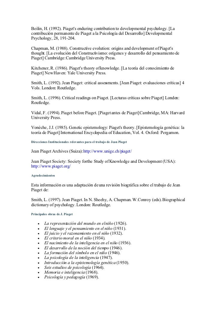 Critically examine the contribution of jean piaget essay