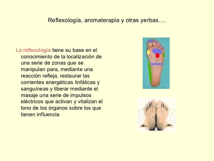 Reflexología, aromaterapia y otras yerbas…. <ul><li> </li></ul><ul><li>  La reflexología  tiene su base en el conocimien...