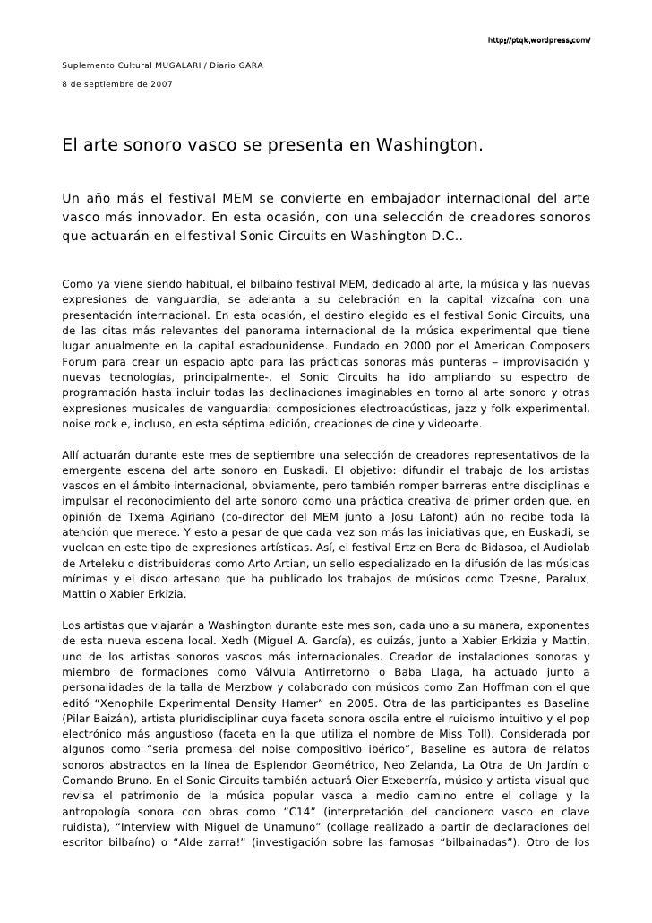 http://ptqk.wordpress.com/   Suplemento Cultural MUGALARI / Diario GARA  8 de septiembre de 2007     El arte sonoro vasco ...