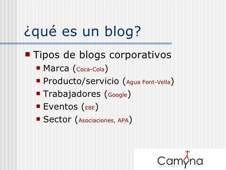 <ul><li>Tipos de blogs corporativos </li></ul><ul><ul><li>Marca ( Coca-Cola ) </li></ul></ul><ul><ul><li>Producto/servicio...