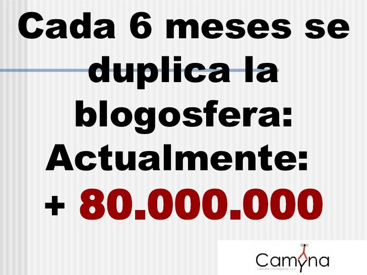 Cada 6 meses se duplica la blogosfera: Actualmente:  +  80.000.000
