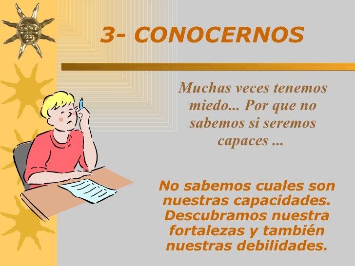 3-   CONOCERNOS   No sabemos cuales son nuestras capacidades. Descubramos nuestra fortalezas y también nuestras debilidade...