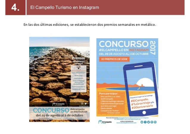 En las dos últimas ediciones, se establecieron dos premios semanales en metálico. El Campello Turismo en Instagram4.