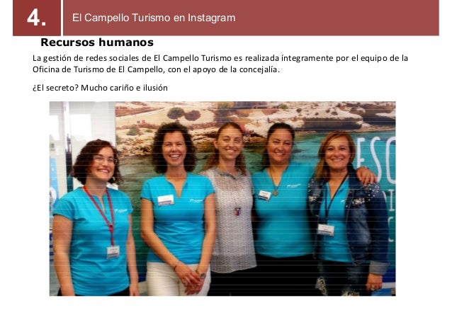 Recursos humanos La gestión de redes sociales de El Campello Turismo es realizada íntegramente por el equipo de la Oficina...