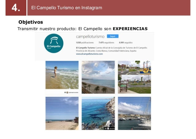 Objetivos Transmitir nuestro producto: El Campello son EXPERIENCIAS El Campello Turismo en Instagram4.
