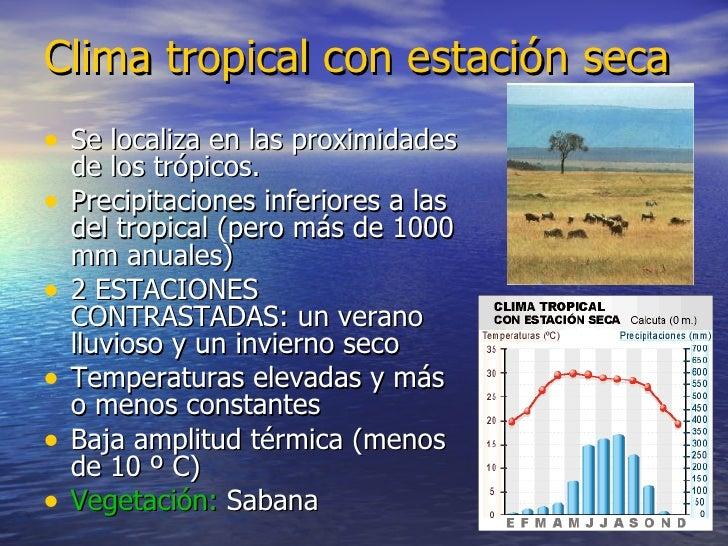 Clima tropical con estación seca <ul><li>Se localiza en las proximidades de los trópicos. </li></ul><ul><li>Precipitacione...