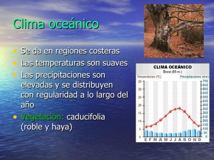 Clima oceánico <ul><li>Se da en regiones costeras </li></ul><ul><li>Las temperaturas son suaves </li></ul><ul><li>Las prec...