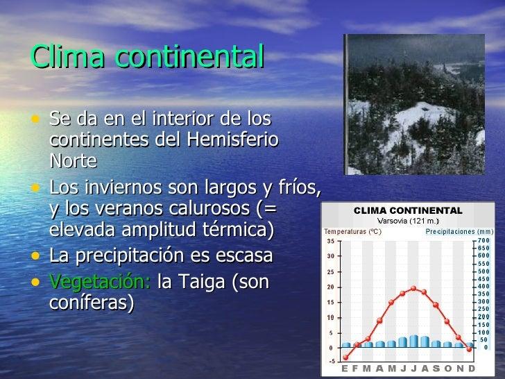 Clima continental <ul><li>Se da en el interior de los continentes del Hemisferio Norte </li></ul><ul><li>Los inviernos son...