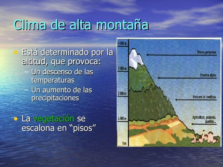 Clima de alta montaña <ul><li>Está determinado por la altitud, que provoca: </li></ul><ul><ul><li>Un descenso de las tempe...