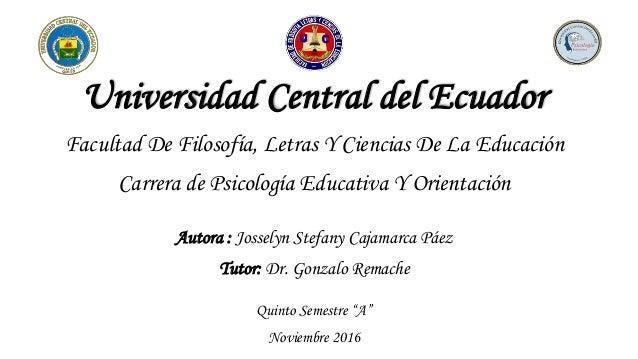 Universidad Central del Ecuador Facultad De Filosofía, Letras Y Ciencias De La Educación Carrera de Psicología Educativa Y...