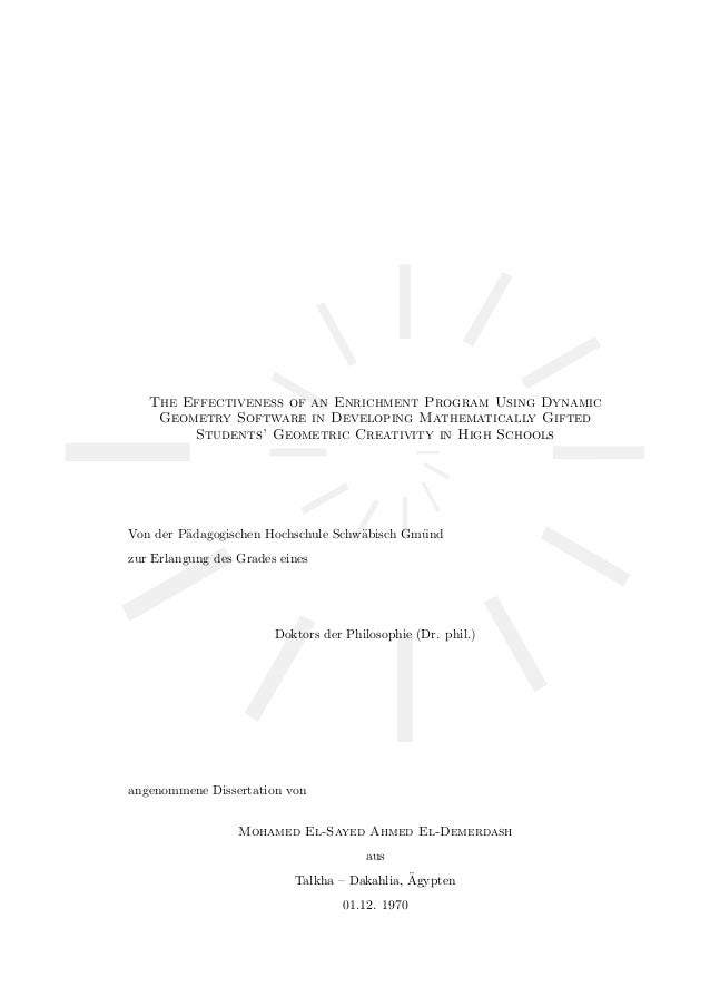 The Effectiveness of an Enrichment Program Using Dynamic Geometry Software in Developing Mathematically Gifted Students' G...