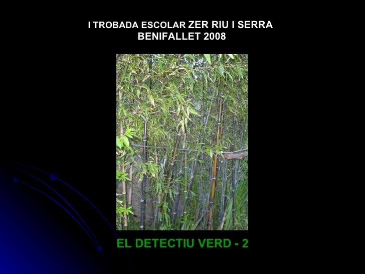 EL DETECTIU VERD - 2 I TROBADA ESCOLAR   ZER RIU I SERRA  BENIFALLET 2008