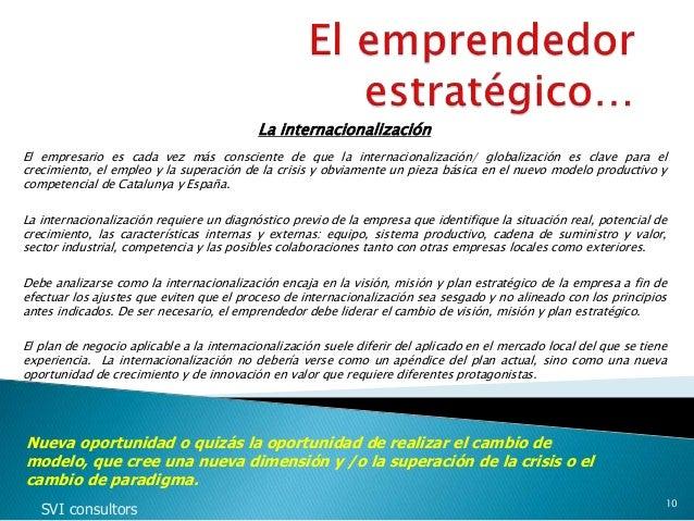 La internacionalización El empresario es cada vez más consciente de que la internacionalización/ globalización es clave pa...