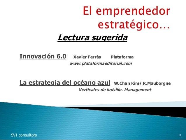 Lectura sugerida Innovación 6.0 Xavier Ferràs Plataforma www.plataformaeditorial.com La estrategia del océano azul W.Chan ...