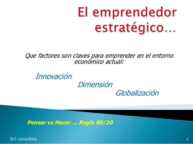 Que factores son claves para emprender en el entorno económico actual: Innovación Dimensión Globalización SVI consultors 6...