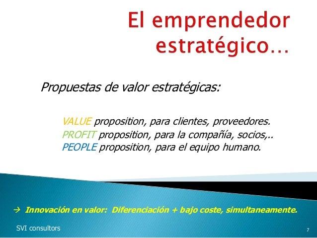 Propuestas de valor estratégicas: VALUE proposition, para clientes, proveedores. PROFIT proposition, para la compañía, soc...